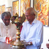 Prof MK Sanu inaugurates Athira Sajith's 18 Puranas Paintings Exhibition